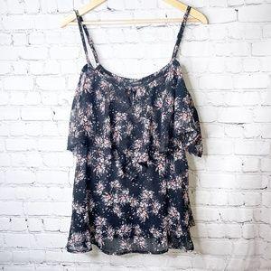 Torrid | Black Floral Chiffon Cold Shoulder Blouse